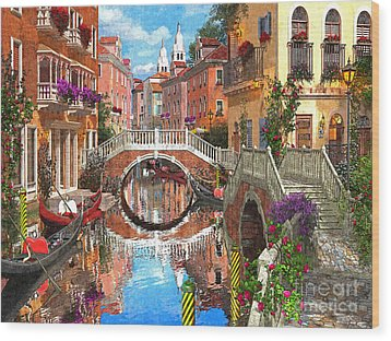 Venetian Waterway Wood Print by Dominic Davison