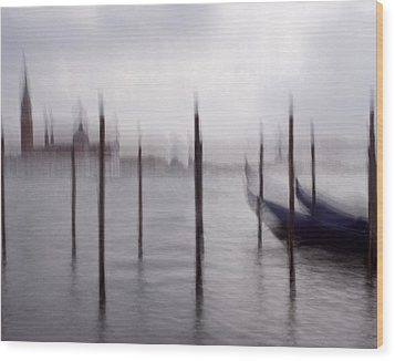 Abstract Black And White Blue Venice Italy Photography Art Work Wood Print by Artecco Fine Art Photography