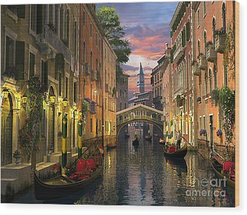 Venice At Dusk Wood Print by Dominic Davison