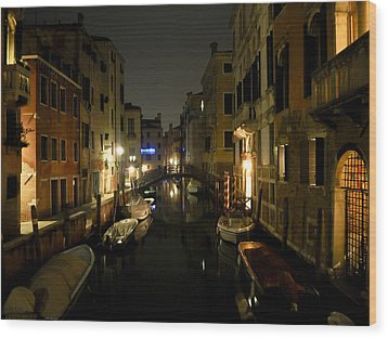Wood Print featuring the photograph Venice At Night by Silvia Bruno