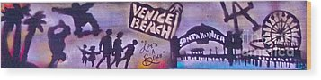 Venice Beach To Santa Monica Pier Wood Print by Tony B Conscious