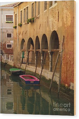 Venice Boats On Canal Wood Print