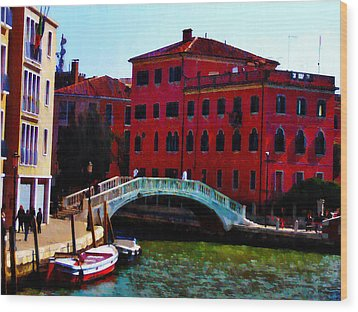 Venice Bow Bridge Wood Print by Bill Cannon