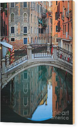 Venice Bridge Wood Print by Inge Johnsson