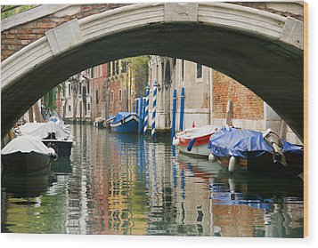 Wood Print featuring the photograph Venice Canal Boat by Silvia Bruno