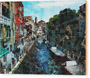Venice Canal Wood Print by Claire Bull