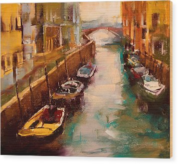 Venice Canal Wood Print by David Patterson