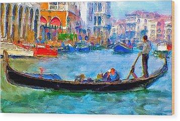 Venice Canals Gondola Wood Print by Yury Malkov
