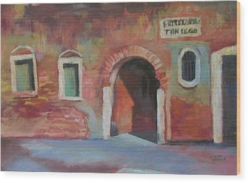 Wood Print featuring the painting Venice Doorway by Linda Novick