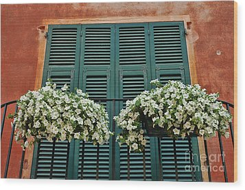 Wood Print featuring the photograph Venice Flower Balcony 2 by Allen Beatty
