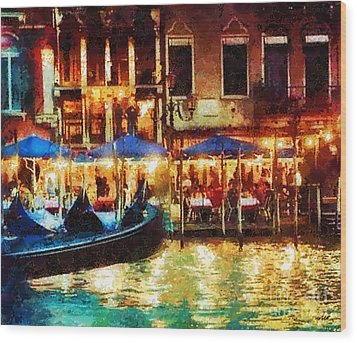 Venice Glow Wood Print by Mo T