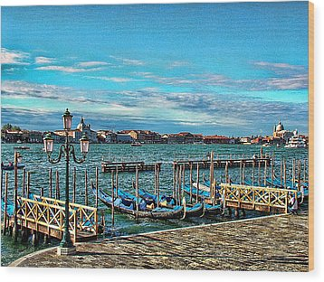 Wood Print featuring the photograph Venice Gondolas On The Grand Canal by Kathy Churchman