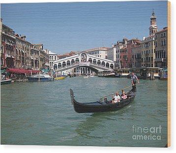 Venice Gondolier Wood Print by John Malone