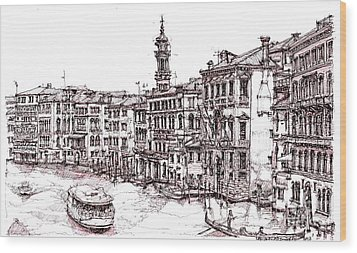Venice In Pen And Ink Wood Print by Adendorff Design