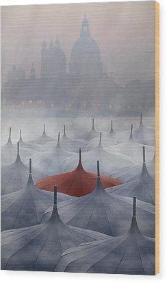 Venice In Rain Wood Print by Joana Kruse