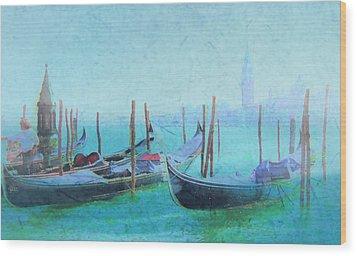 Venice Italy Gondolas With San Giorgio Maggiore Wood Print by Douglas MooreZart
