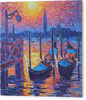 Venice Mysterious Light - Gondolas And San Giorgio Maggiore Seen From Plaza San Marco Wood Print
