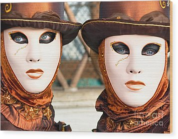 Venice Masks - Carnival. Wood Print by Luciano Mortula