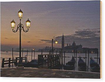 Venice Night Lights Wood Print by Marion Galt