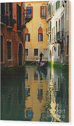 Venice Reflections Wood Print by Bob Christopher