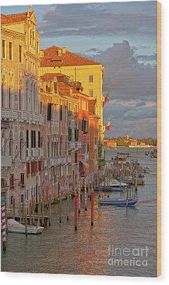 Venice Romantic Evening Wood Print by Heiko Koehrer-Wagner