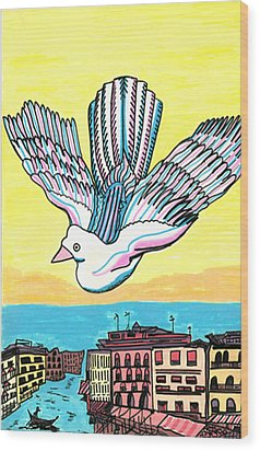 Wood Print featuring the drawing Venice Seagull by Don Koester