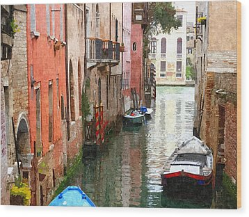Venice Side Canal Wood Print by Bishopston Fine Art