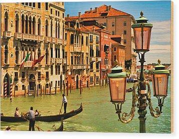 Venice Street Lamp Wood Print