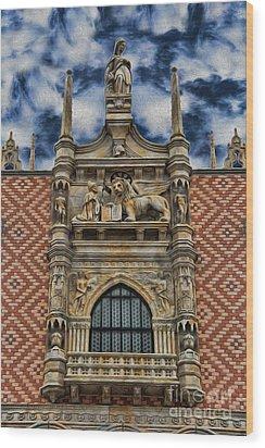Venice - The Lion Of Saint Mark Wood Print by Lee Dos Santos
