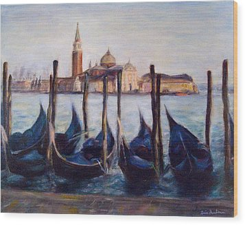 Venice Through The Gondolas Italy Painting Wood Print by Quin Sweetman