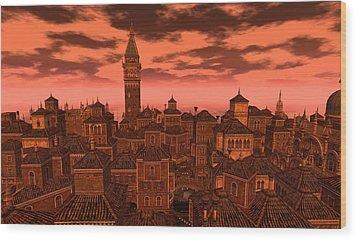 Venice - Vampire Sky Wood Print by Amanda Holmes Tzafrir