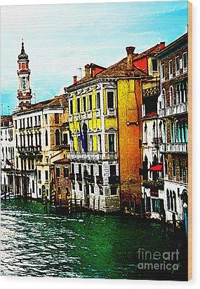 Wood Print featuring the digital art Venice - Venezia by Ze  Di
