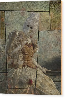 Wood Print featuring the photograph Venitian Carnival-bird In A Cage by Barbara Orenya