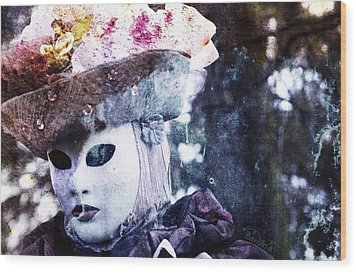 Wood Print featuring the photograph Venitian Carnival - I Love Mystery by Barbara Orenya