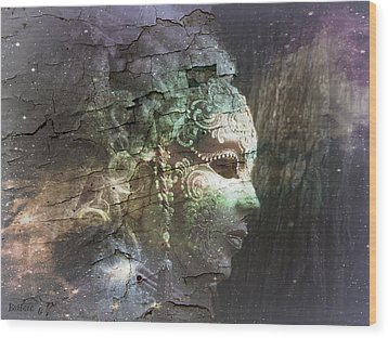 Wood Print featuring the digital art Venitian Carnival - The Shimmering Lady by Barbara Orenya