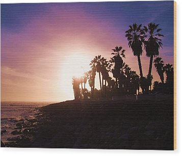 Ventura Beach Sunset Wood Print by Mary Ellen Frazee