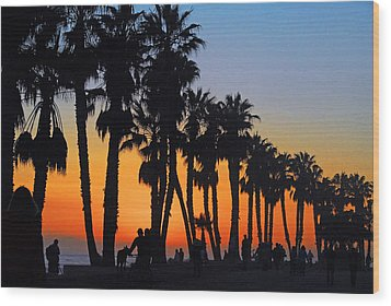Ventura Boardwalk Silhouettes Wood Print by Lynn Bauer