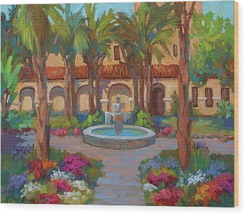 Ventura Mission Wood Print by Diane McClary