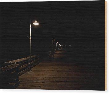 Ventura Pier At Night Wood Print by John Daly