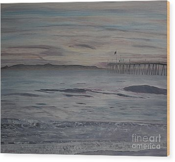 Ventura Pier High Surf Wood Print by Ian Donley