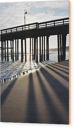 Wood Print featuring the photograph Ventura Pier Shadows by Kyle Hanson