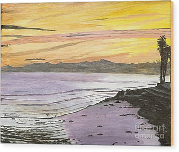 Ventura Point At Sunset Wood Print by Ian Donley