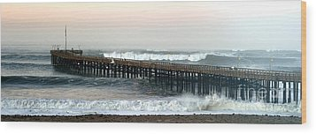 Wood Print featuring the photograph Ventura Storm Pier by Henrik Lehnerer