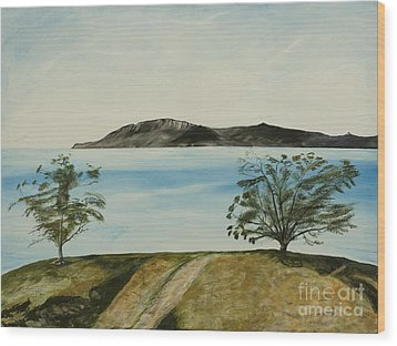 Ventura's Two Trees With Santa Cruz  Wood Print by Ian Donley
