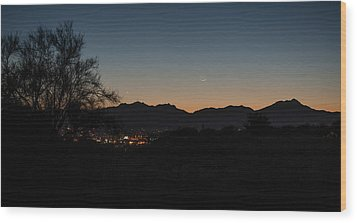 Wood Print featuring the photograph Venus And A Young Moon Over Tucson by Dan McManus