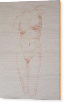 Female Torso #3 Wood Print by Deborah Dendler