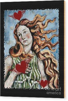 Venus On The Wing Wood Print by Carrie Joy Byrnes