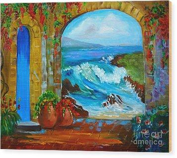 Veranda Ocean View Wood Print