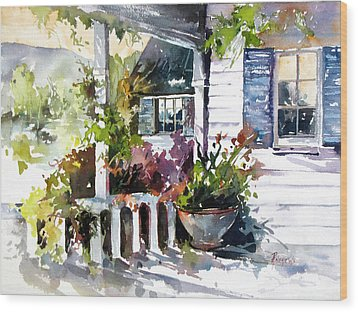 Veranda Shadows Wood Print by Rae Andrews