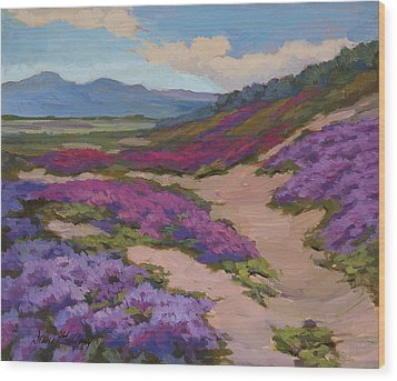 Verbena Harmony In Purple Wood Print by Diane McClary
